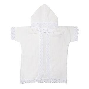 Крестильная рубашка с капюшоном, рост 74, муслин, универсальная