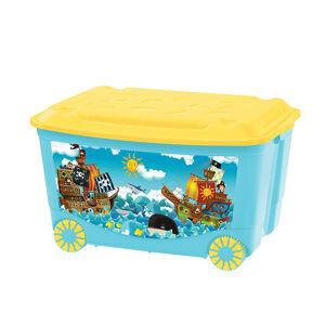 Ящик для игрушек на колесах с аппликацией Пластишка